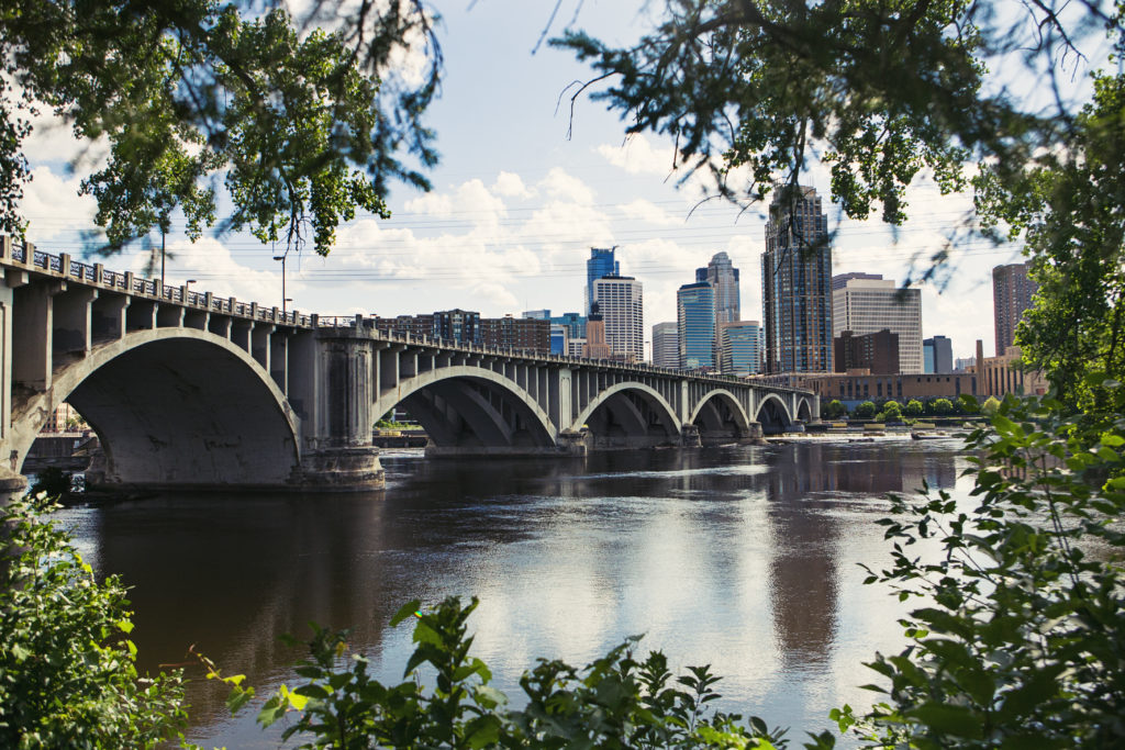 Downtown Minneapolis, Bridge over Mississippi
